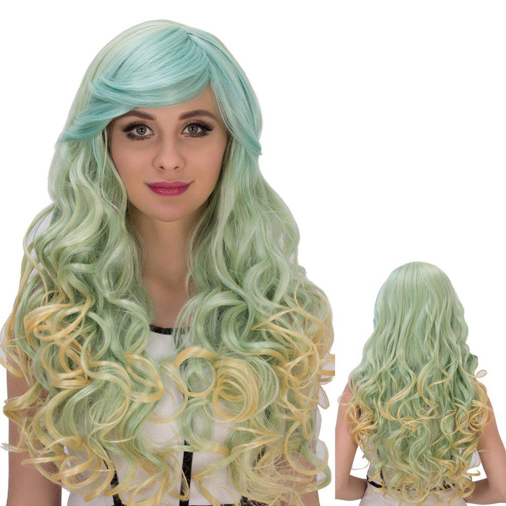 Gorgeous Colorful Long Side Bang Wavy Cosplay Synthetic WigHair<br><br><br>Color: COLORMIX