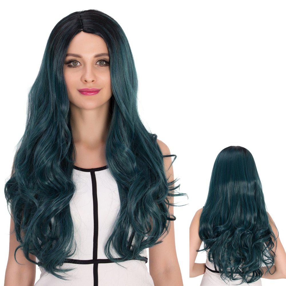 Ombre Color Long Side Parting Wavy Cosplay Synthetic Wig dark to brown body wavy ombre synthetic lace front wig ombre synthetic lace front wig cosplay heat resistant