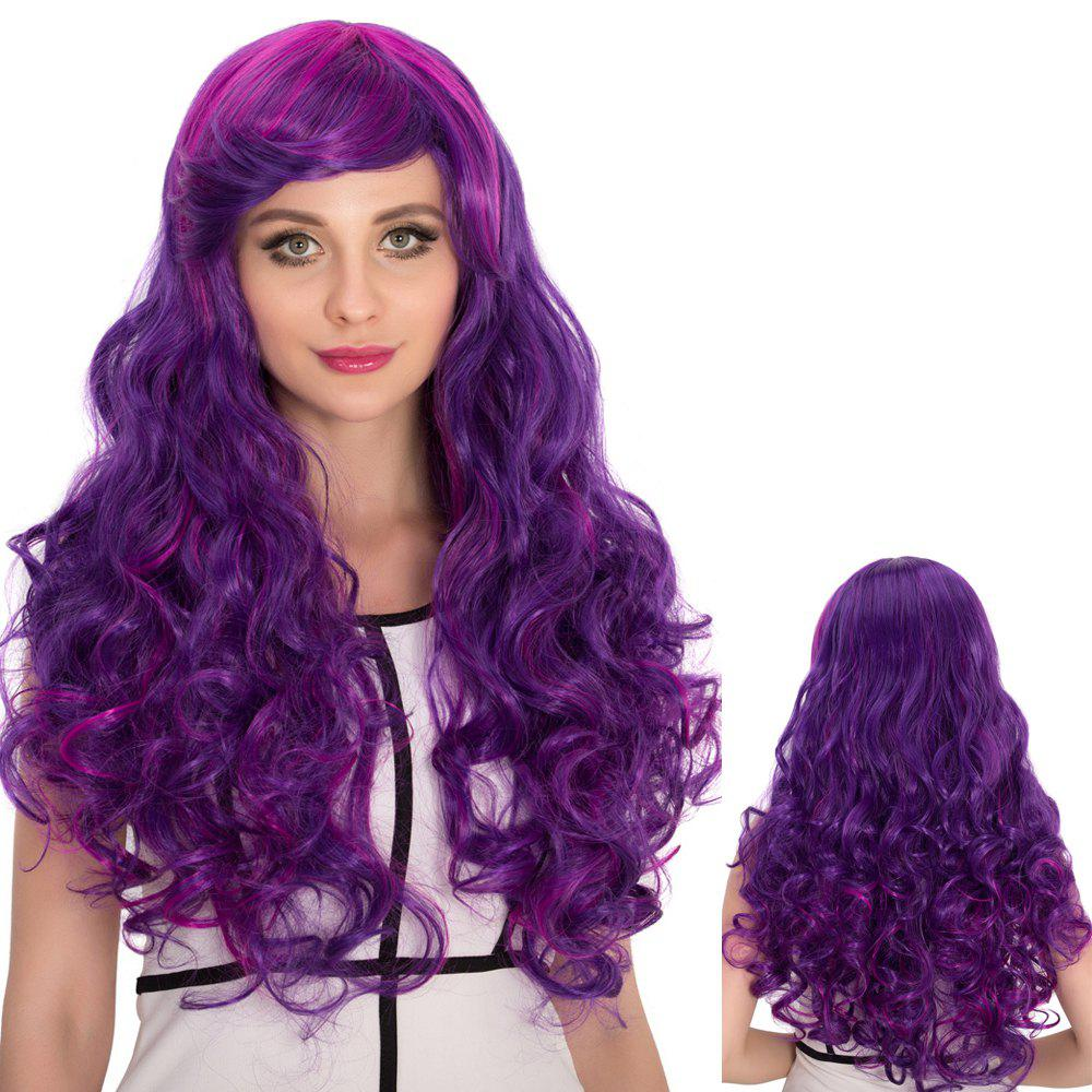 Purple Ombre Long Side Bang Shaggy Wavy Cosplay Synthetic Wig dark to brown body wavy ombre synthetic lace front wig ombre synthetic lace front wig cosplay heat resistant