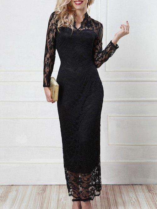 See-Through Openwork Slimming Dress - BLACK ONE SIZE