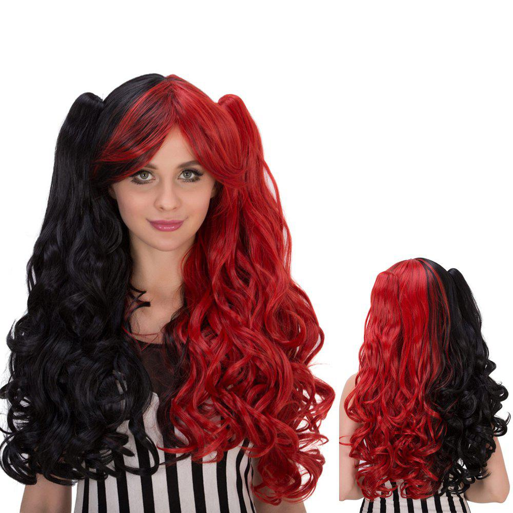 Oblique Bang Long Wavy Colormix Synthetic Lolita Wig with Bunches