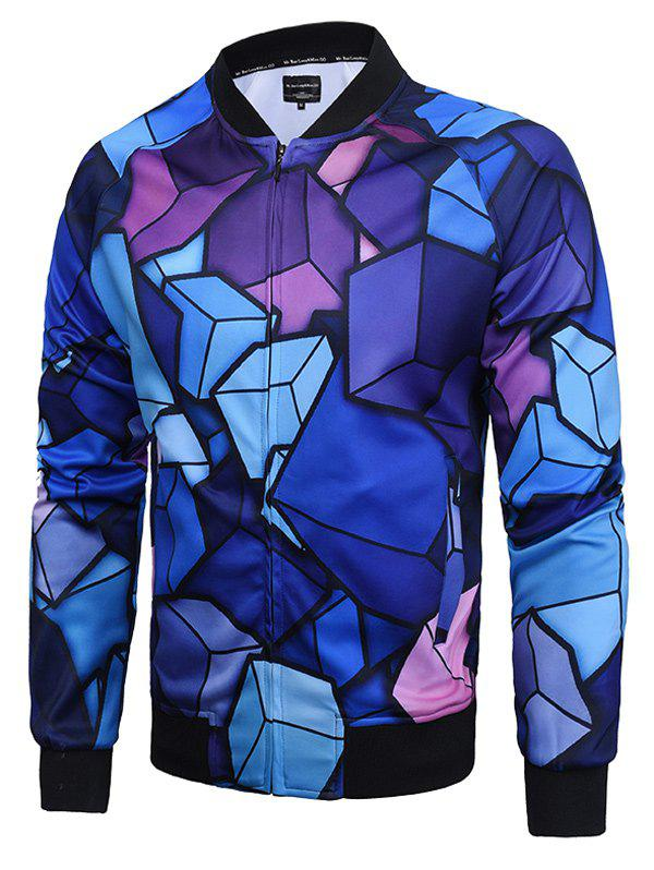 Raglan Sleeve 3D Cube Print Zip Up Jacket