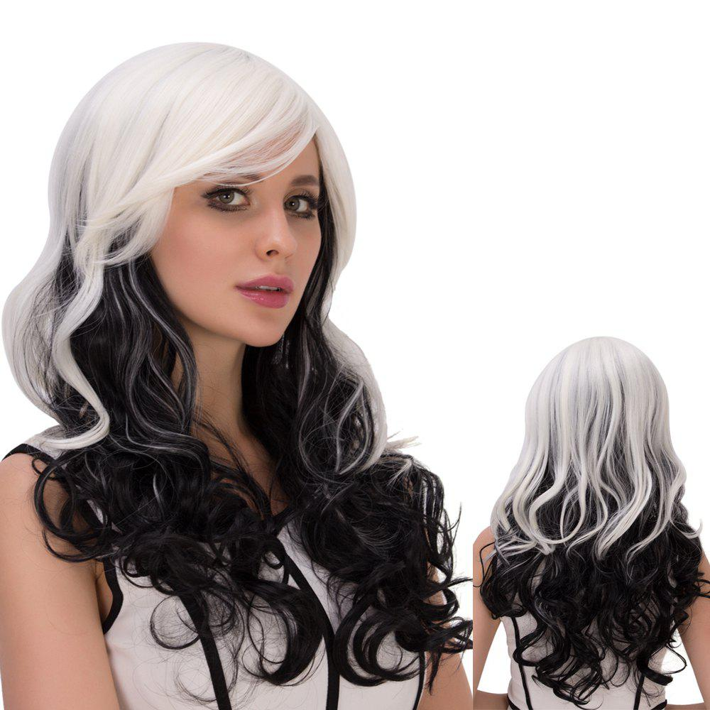 Ombre Long Inclined Bang Wavy Synthetic Lolita Wig