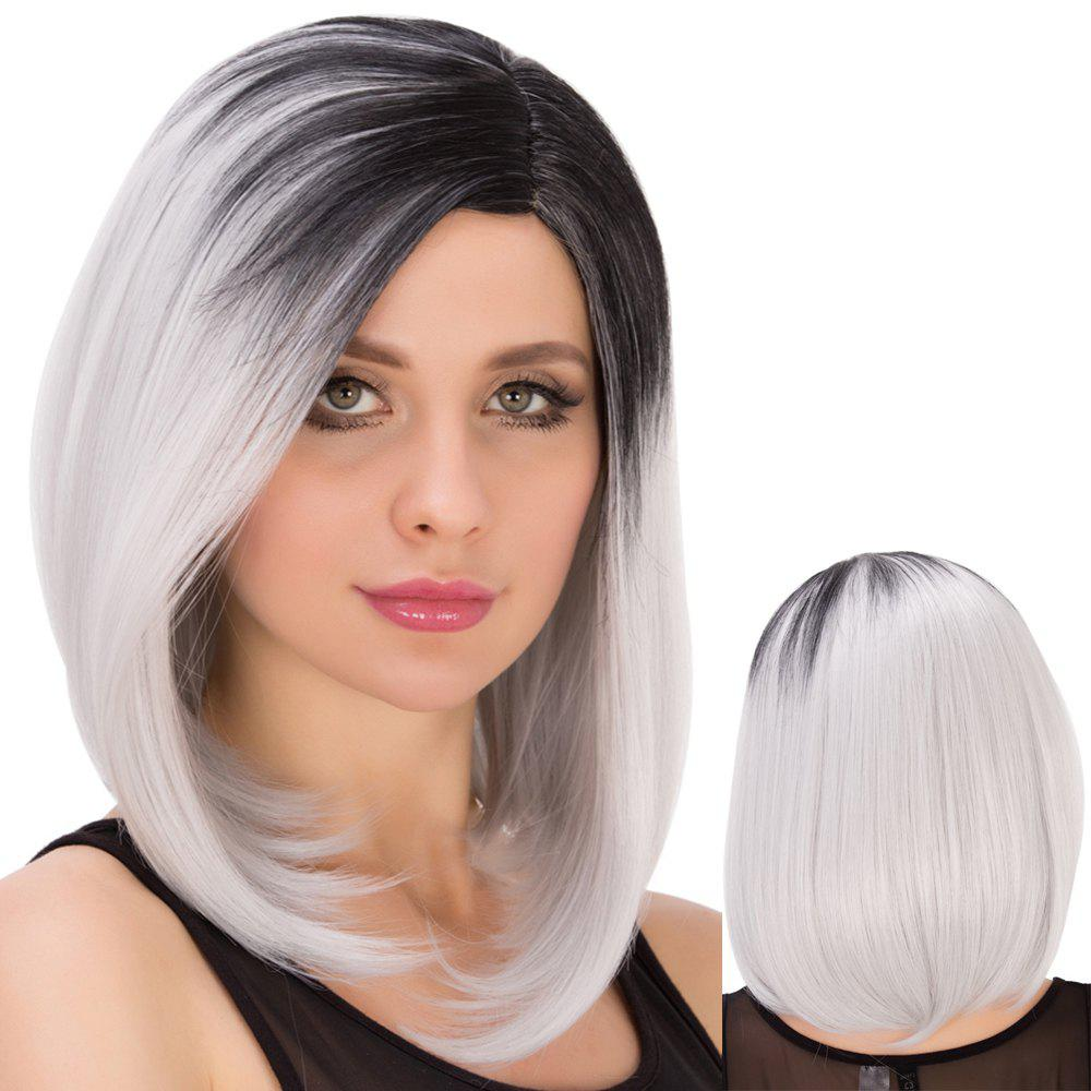 Medium Side Parting Silver Mixed Black Straight Trendy Women's Cosplay Lolita Synthetic Wig - BLACK/GREY