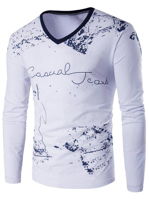 V-Neck Long Sleeve Scrawl Printed T-Shirt - WHITE M