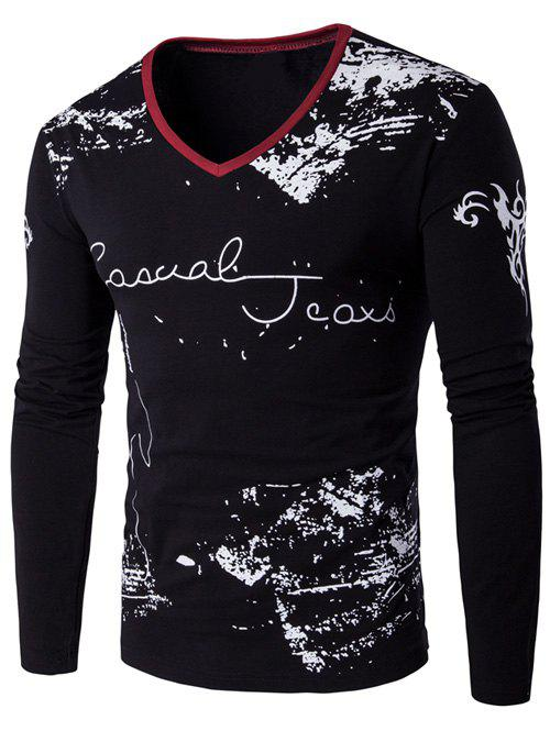 V-Neck Long Sleeve Scrawl Printed T-Shirt - BLACK M