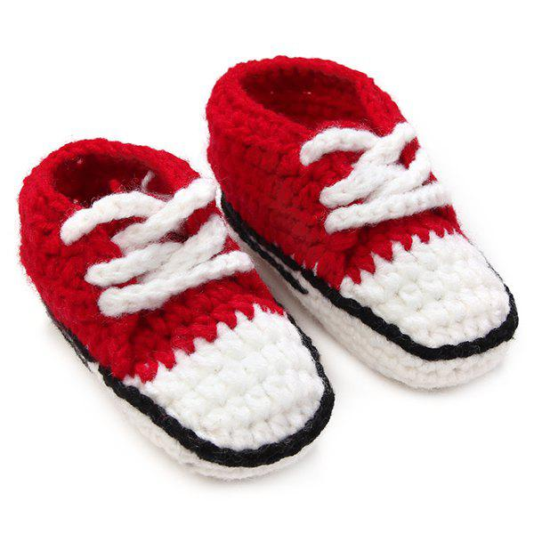 Lace-Up Canvas Shape Knit Baby Booties - RED