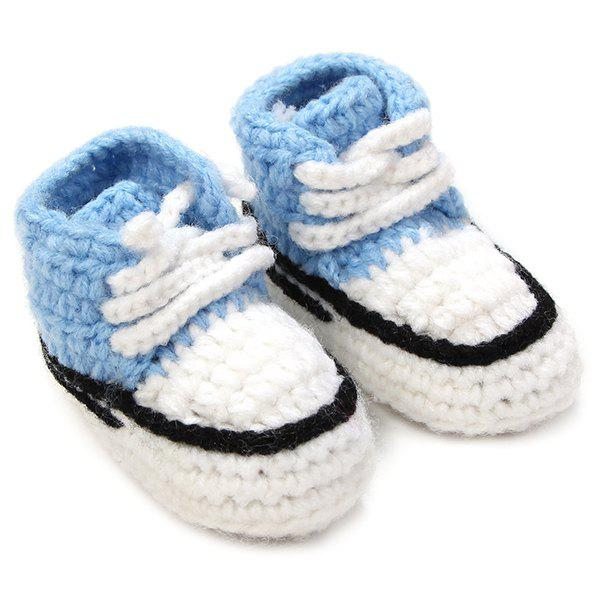 Lace-Up Canvas Shape Knit Baby BootiesHome<br><br><br>Color: LIGHT BLUE