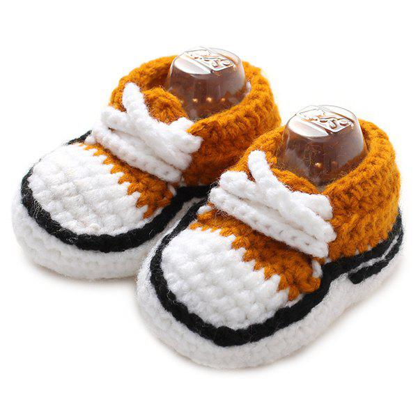 Lace-Up Canvas Shape Knit Baby Booties - BROWN