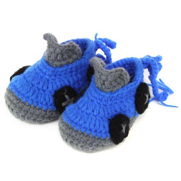 Roadster Knit Baby Booties - BLUE