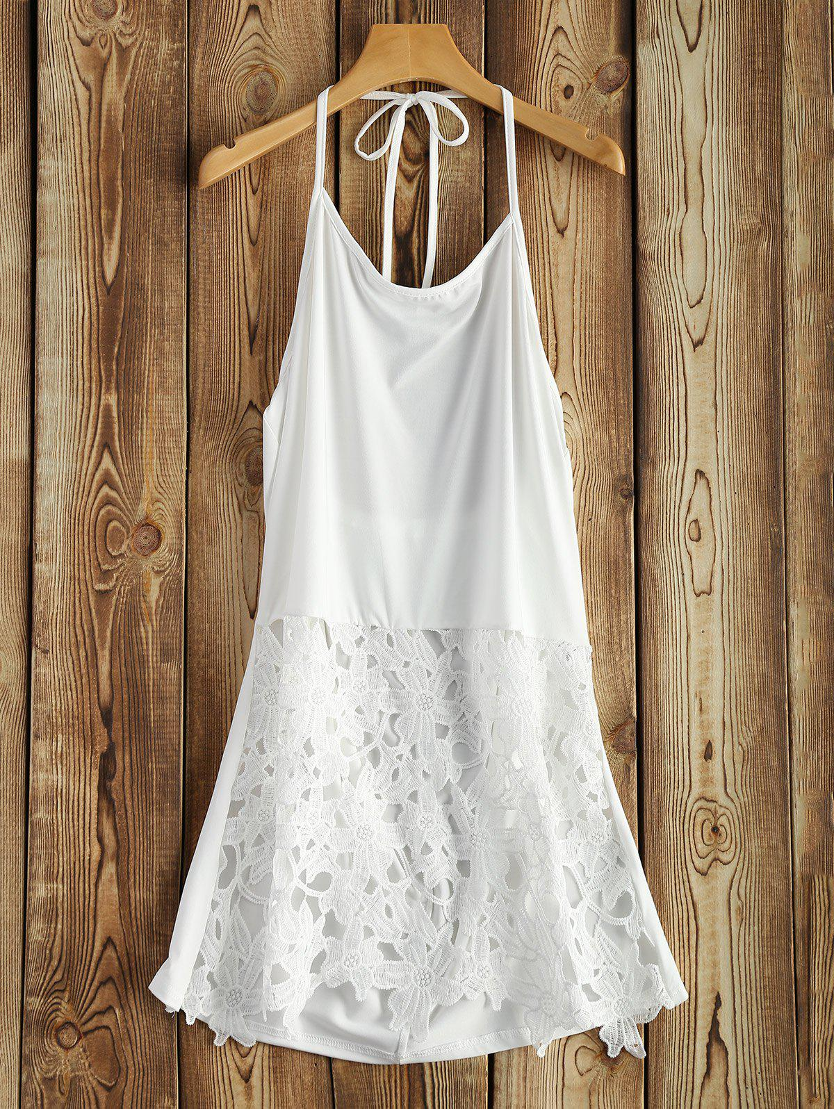 Lace Hem Halter TopWomen<br><br><br>Size: XL<br>Color: WHITE