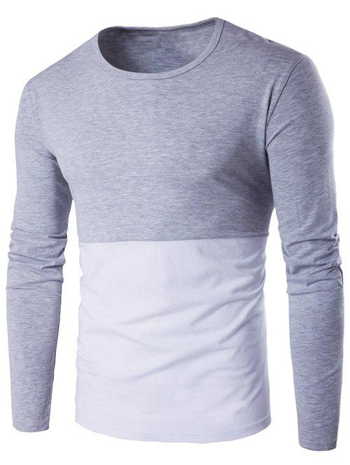 Round Neck Long Sleeve Color Block Tee - GRAY M