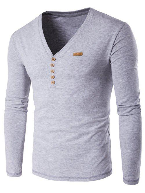 V Neck Long Sleeve Patch Design Henley Shirt Gray M In