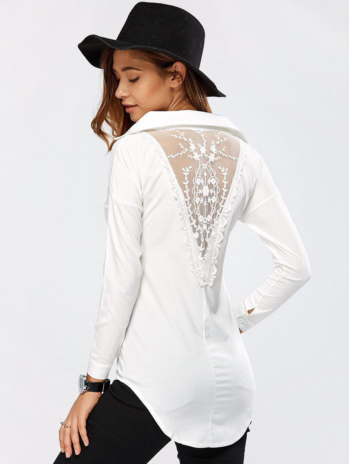 Lace Spliced Crochet High Low BlouseWomen<br><br><br>Size: XL<br>Color: WHITE