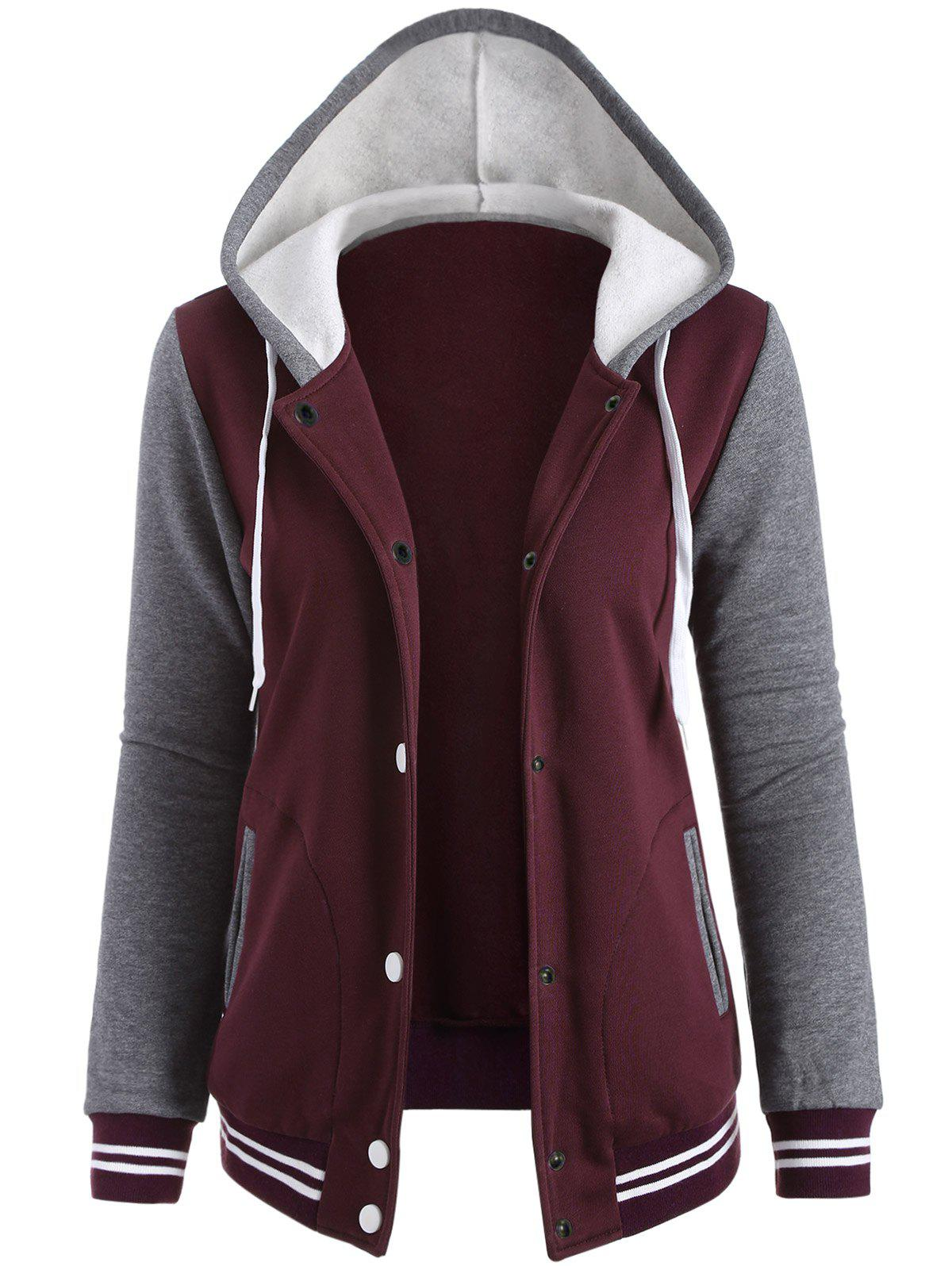 Contrast Sleeve Fleece Baseball Hoodie Jacket - WINE RED M