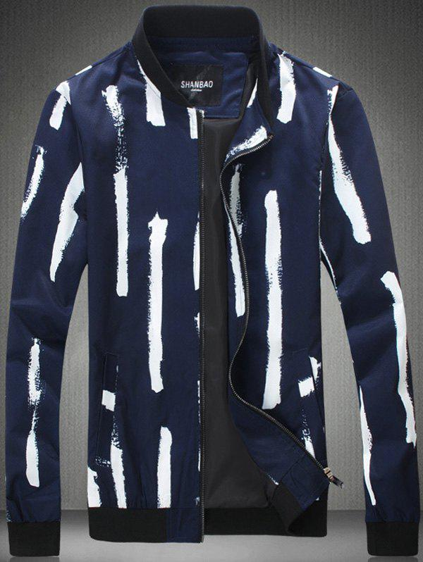 Plus Size Paint Stripe Print Stand Collar Zip-Up Jacket plus size geometric print zip up jacket