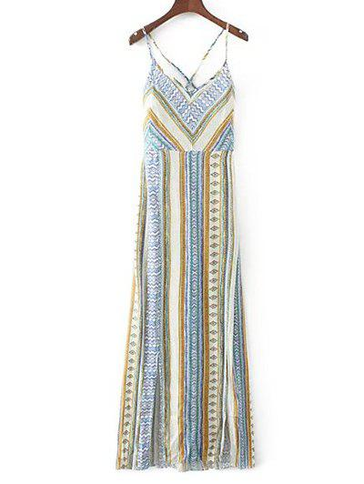 Cami Vintage Lace-Up Maxi Dress - LIGHT BLUE S