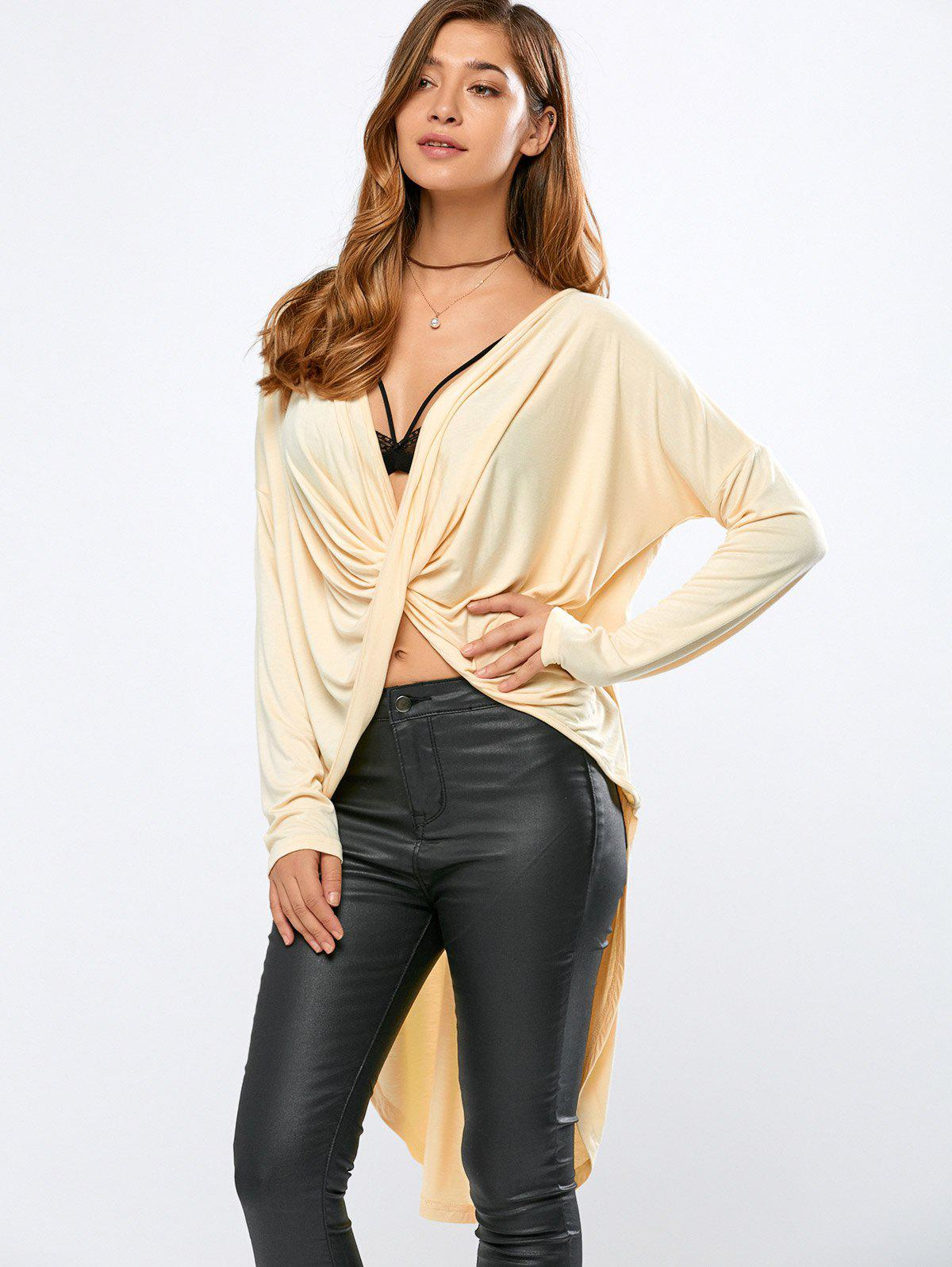 High-Low Wrap T-Shirt - BEIGE L
