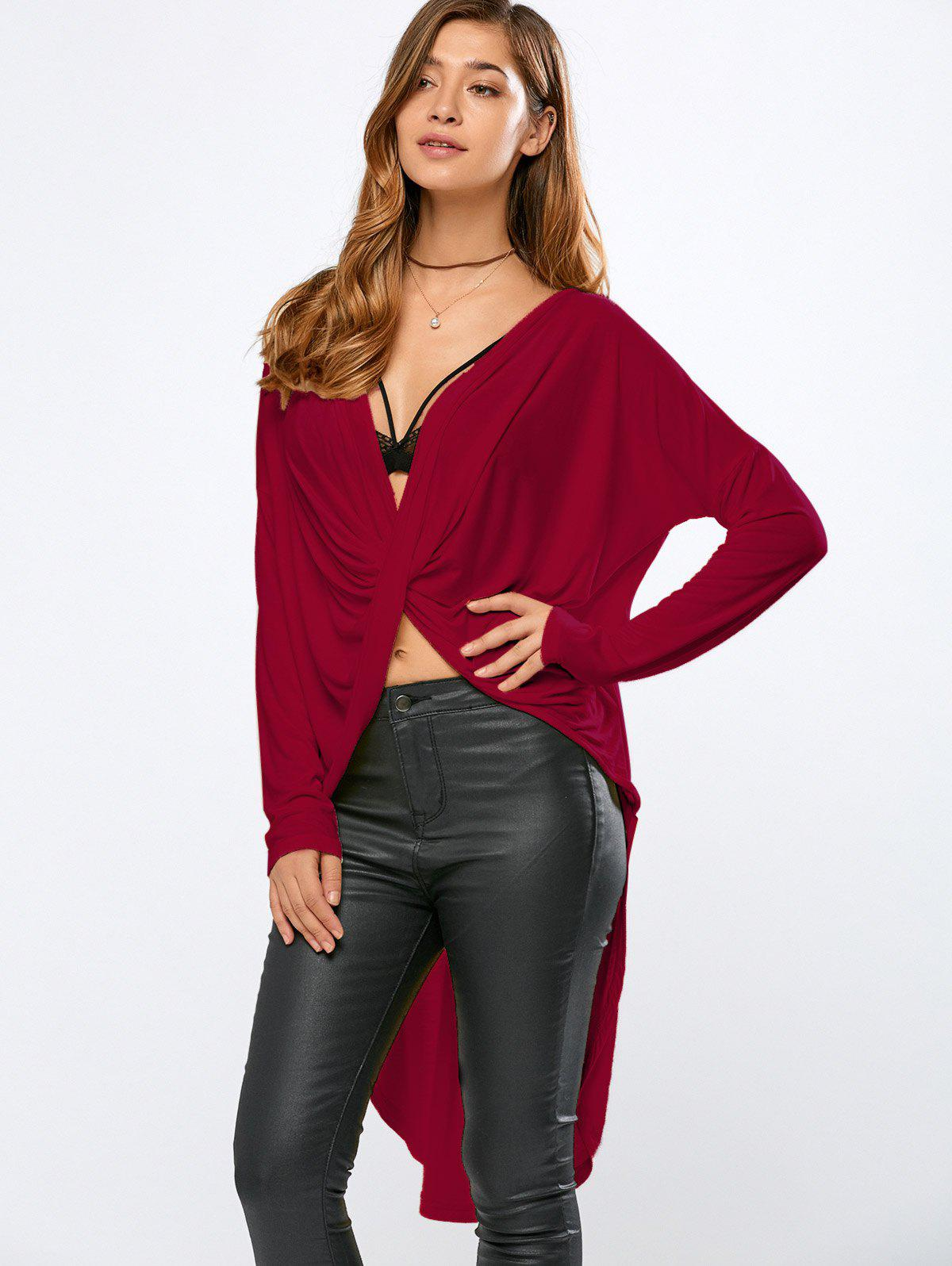 High-Low Wrap T-Shirt - RED 2XL