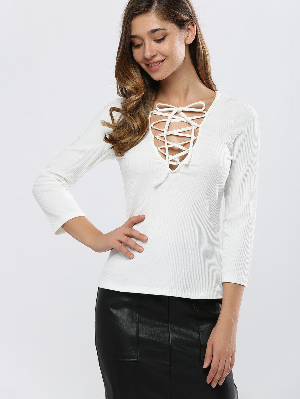 Fitting Lace-Up T-Shirt - WHITE M