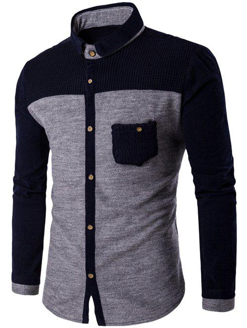 Pocket Design Two Tone Corduroy Pamel Shirt - LIGHT GRAY L
