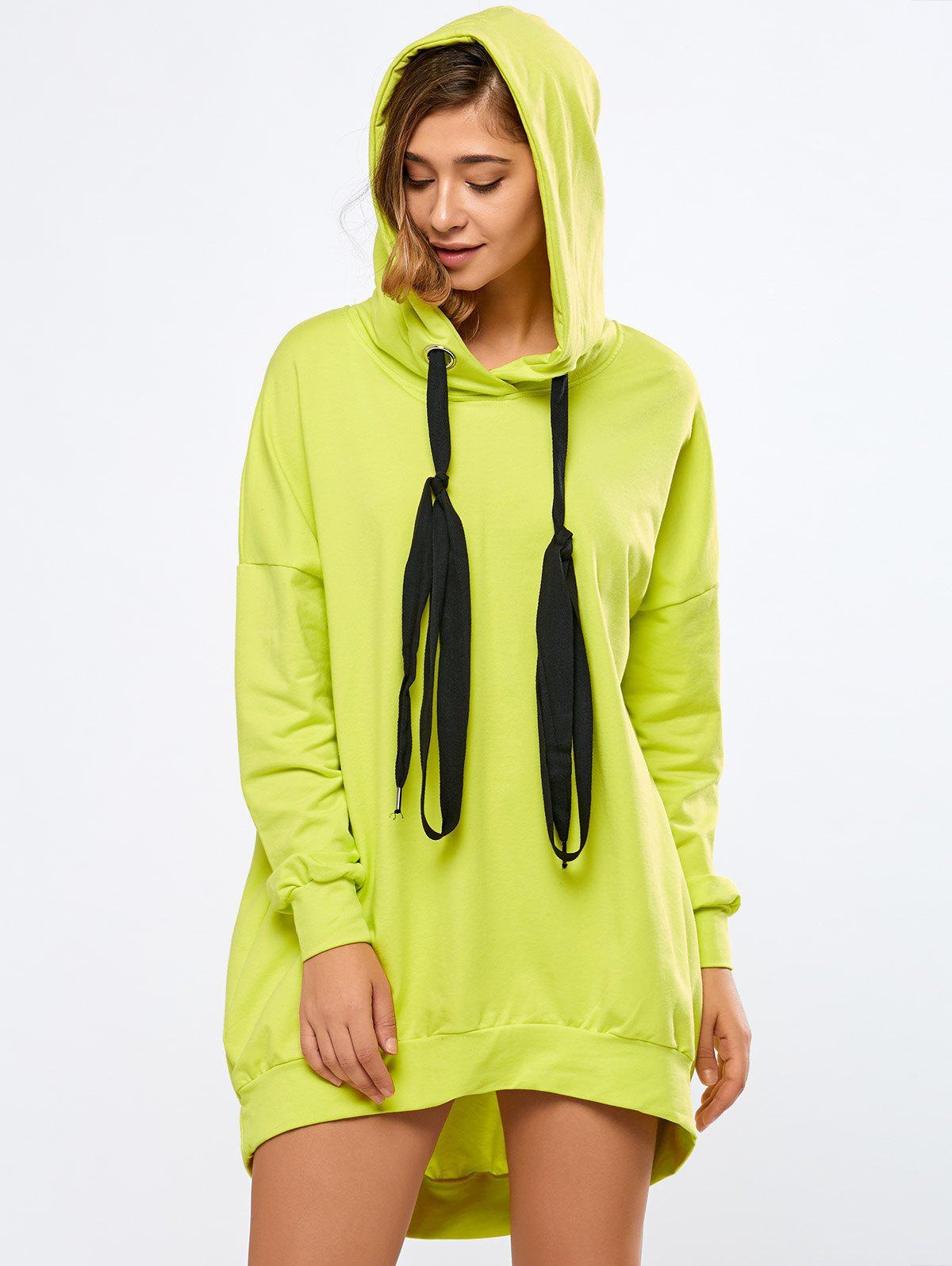 Oversized Long Hoodie - FLUORESCENT YELLOW S