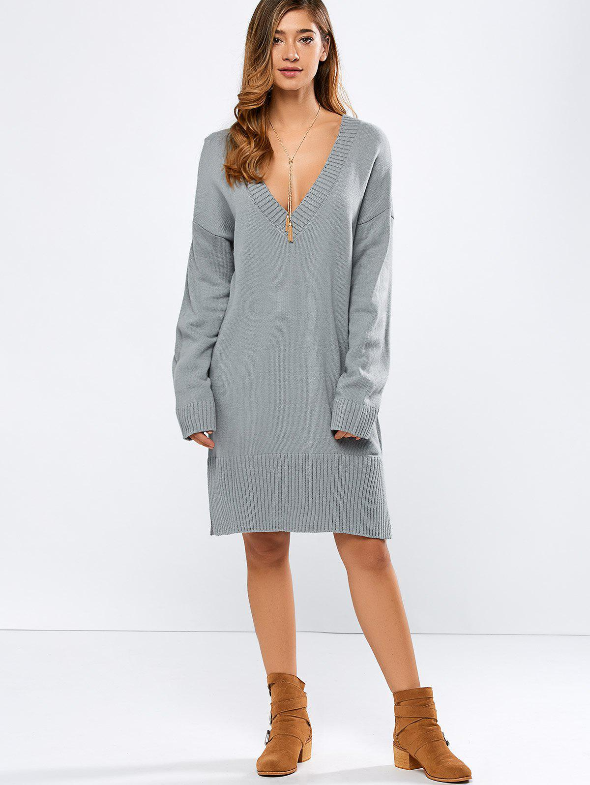 2017 V Neck Long Sleeve Tunic Sweater Dress GRAY M In Sweater ...