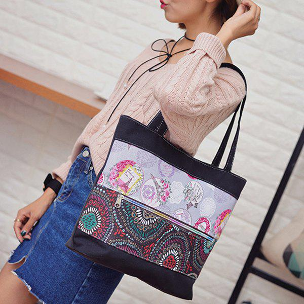 Colour Block Zipper Floral Print Shoulder Bag