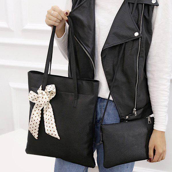 Scarves Textured Leather Stitching Shoulder Bag - BLACK