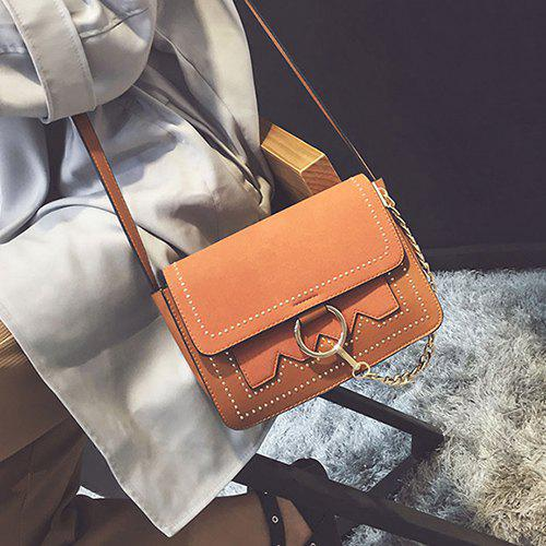 Covered Closure Chain Metal Ring Crossbody Bag - BROWN