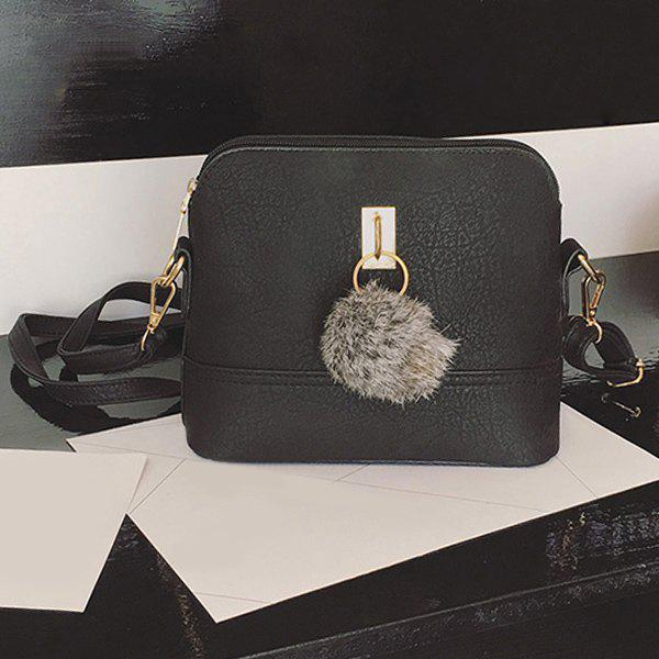 Pom Pom Crossbody Bag - BLACK