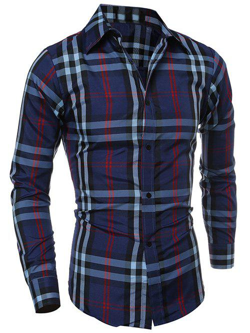 Turn-Down Collar Long Sleeve Tartan Pattern Shirt - CADETBLUE M