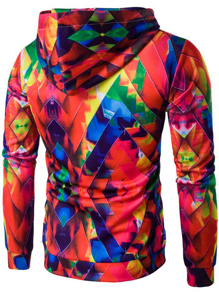 Abstract Printed Colormix Pullover Hoodie - COLORFUL 2XL