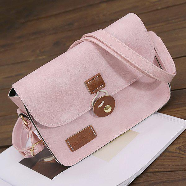 Stitching Square Shape PU Leather Crossbody Bag - PINK