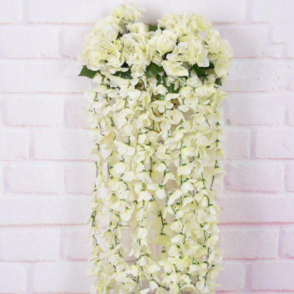 Artificial Flower Rattan For Wedding Home Balcony Decoration - WHITE