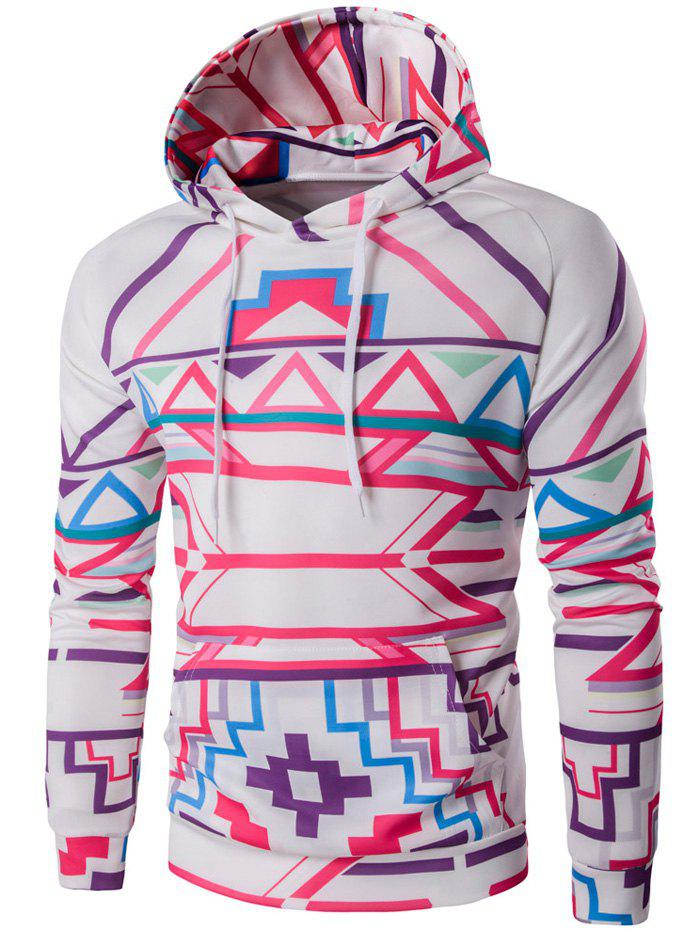 Abstract Geometric Print Pullover Hoodie - WHITE L