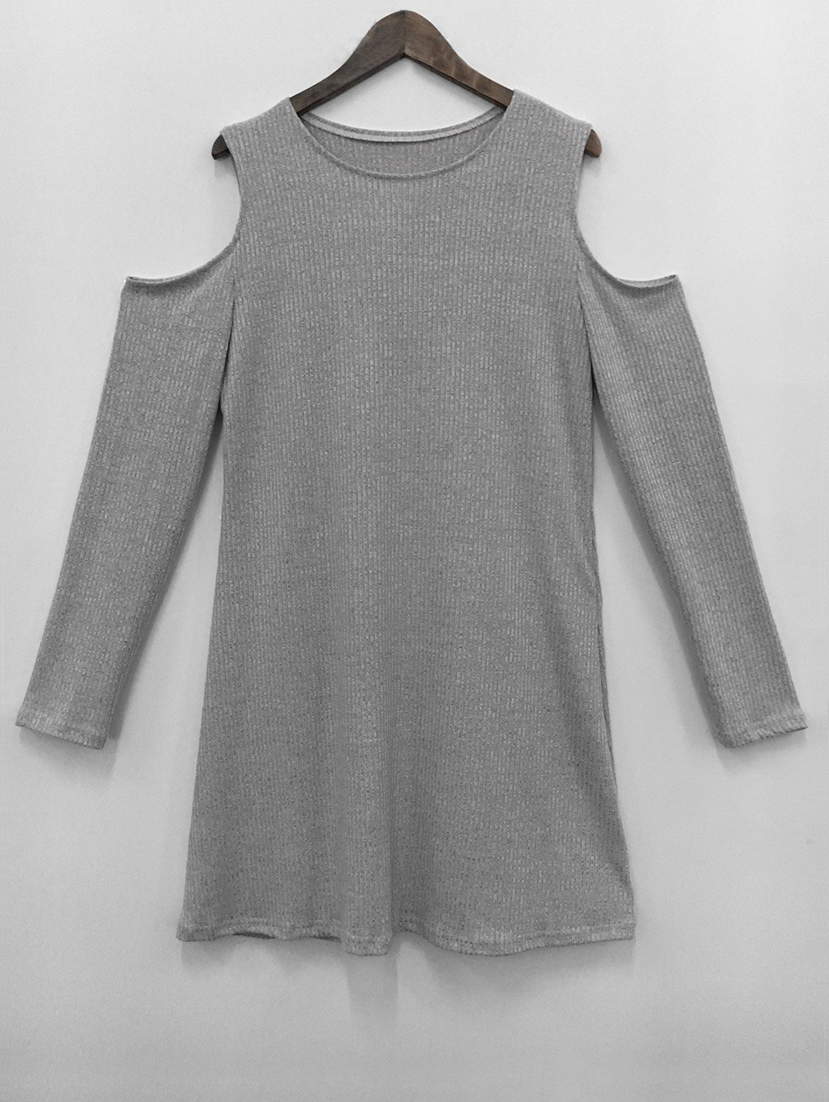 Cold Shoulder Knit Short Jumper Dress - GRAY S