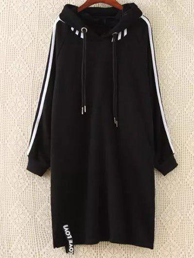 Plus Size Hoodie Dress - BLACK XL