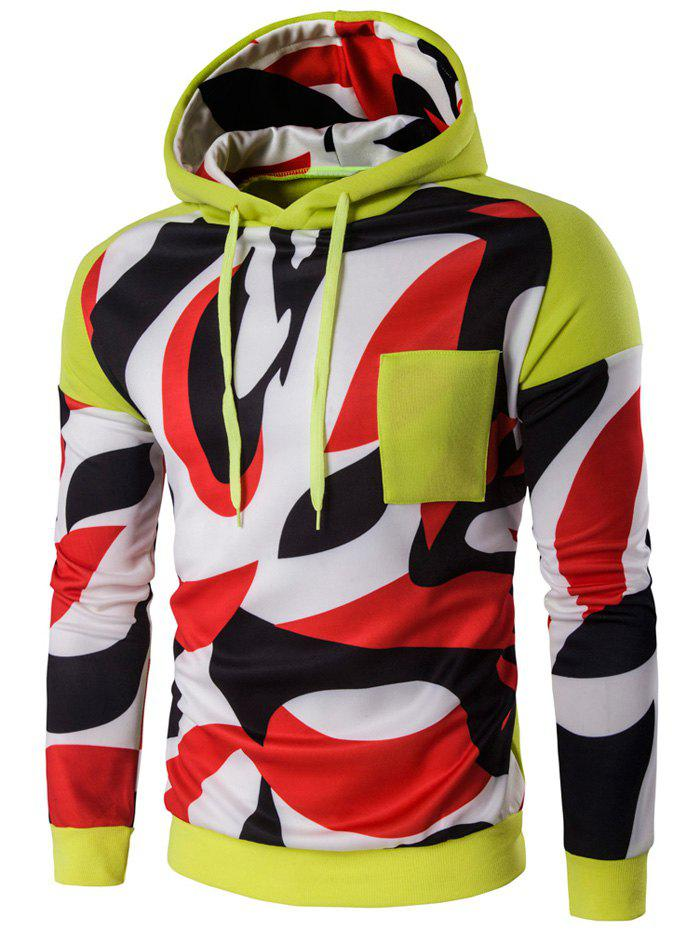 Color Block Abstract Print Pullover Hoodie print pullover color block hoodie
