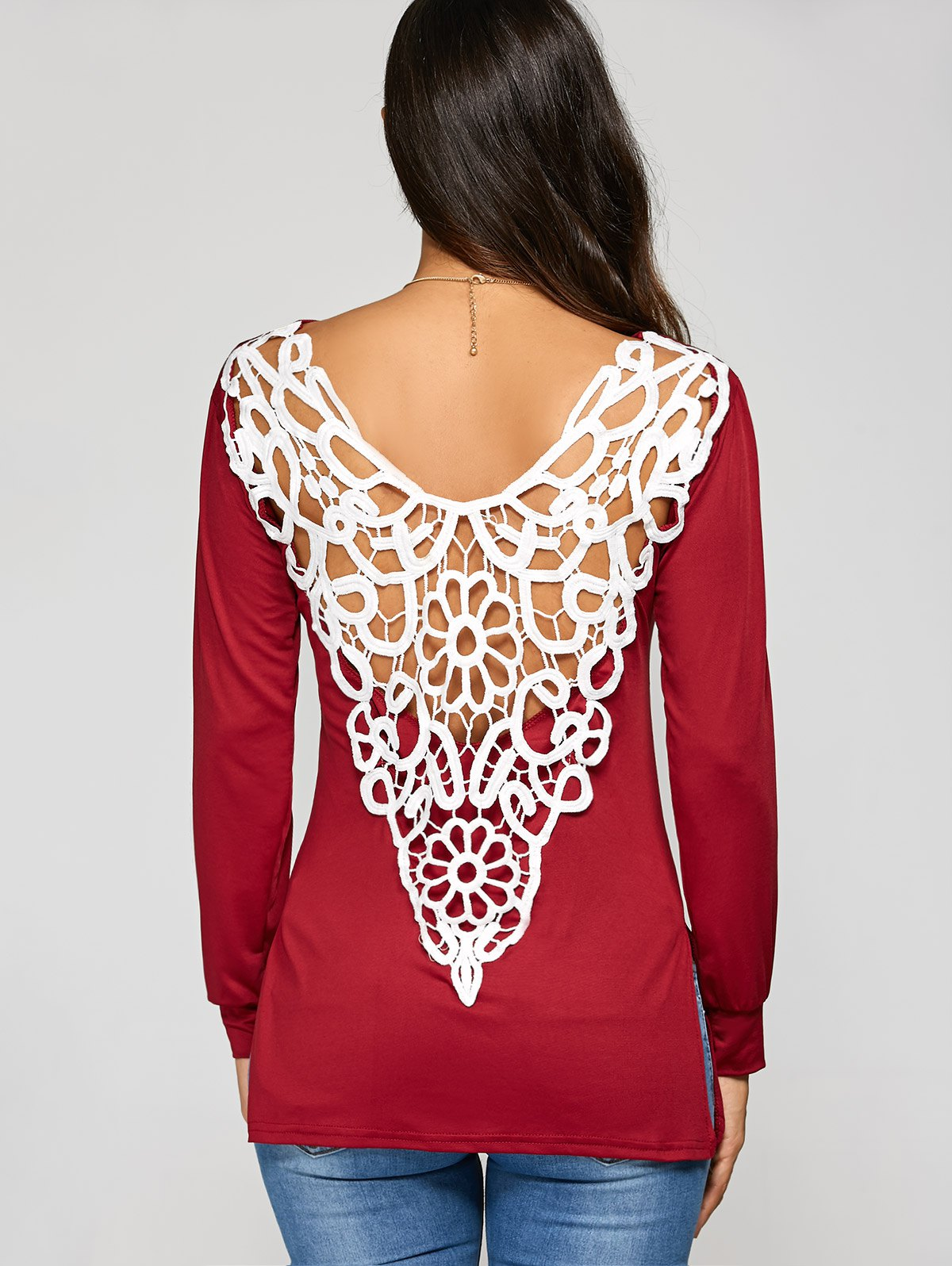Crochet Lace Insert Hollow Out T-ShirtWomen<br><br><br>Size: 2XL<br>Color: DEEP RED