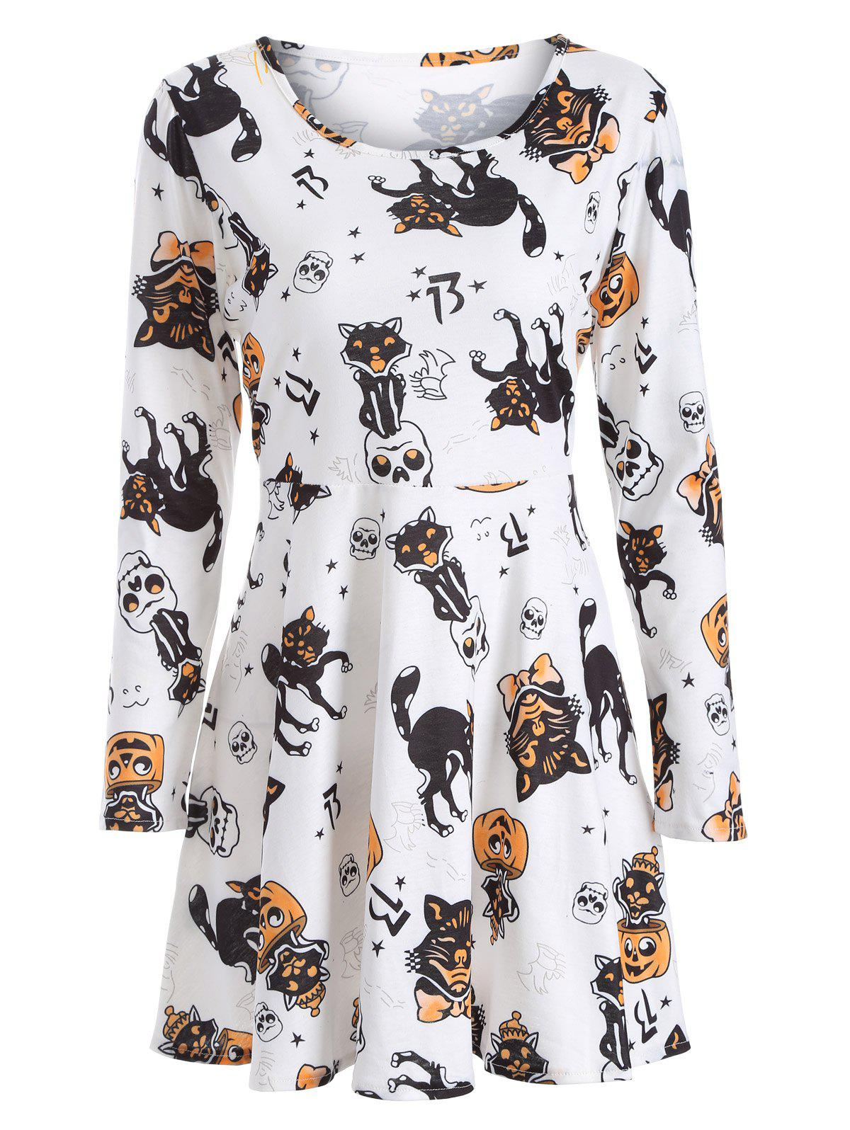 Pumpkin Skull Print Halloween Swing Dress - WHITE 5XL