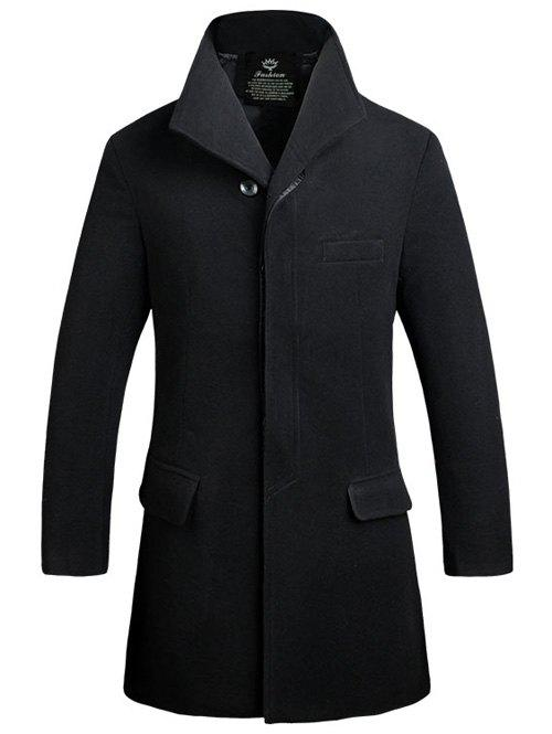 Stand Collar Lengthen Covered Button Woolen Coat - BLACK M