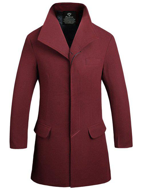 Stand Collar Lengthen Covered Button Woolen Coat - WINE RED 3XL