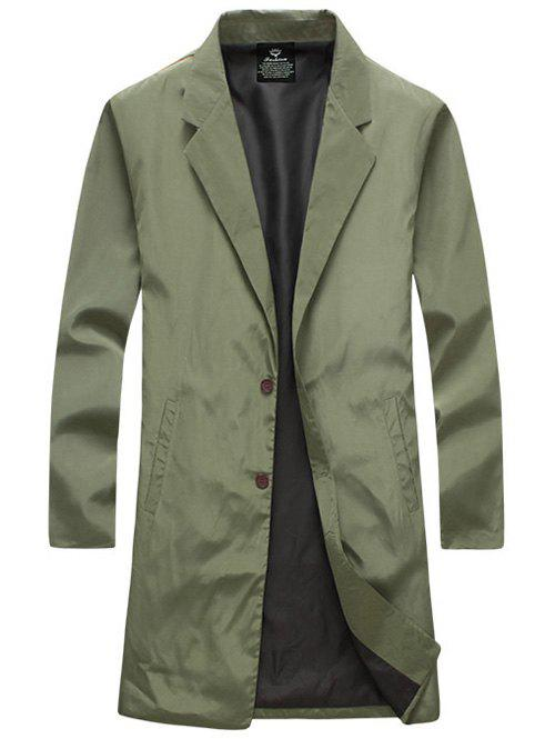 Turn-Down Collar Lengthen Single-Breasted Wind Coat - ARMY GREEN 5XL