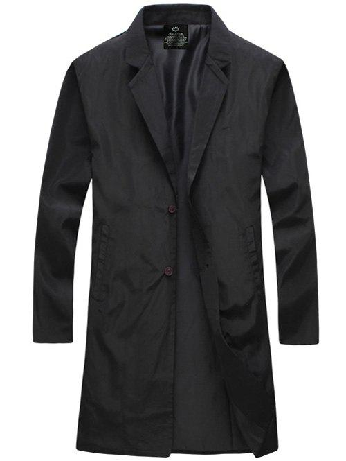 Turn-Down Collar Lengthen Single-Breasted Wind Coat - BLACK M