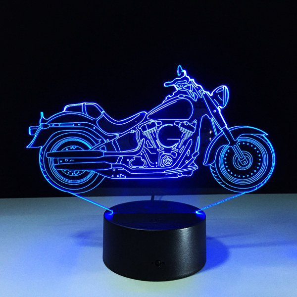 Festival 3D USB Motorcycle Shape Touch Colorful Night Light