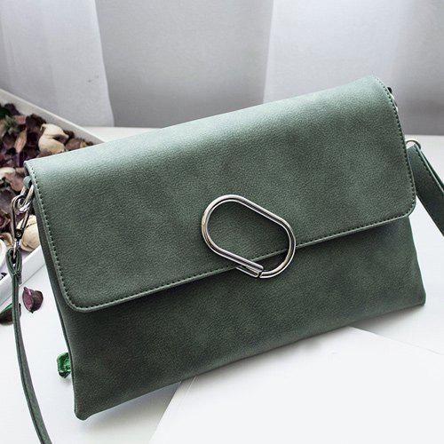 Metal Covered Closure PU Leather Clutch Bag - BLACKISH GREEN
