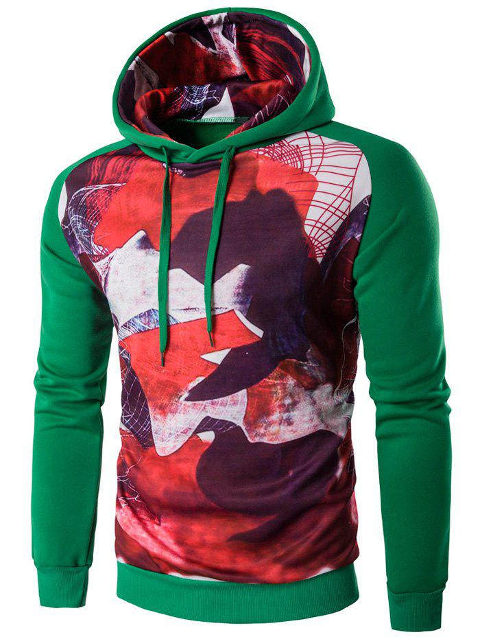 Abstract Printed Raglan Sleeve Pullover Hoodie