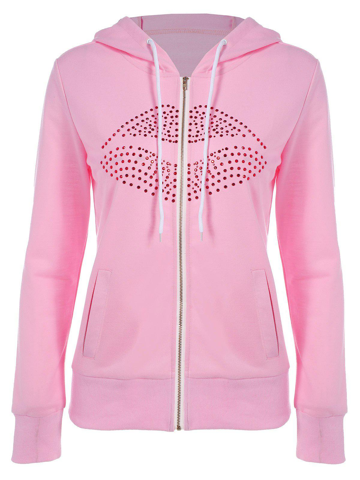 Drawstring Lip Motif Zip Up Hoodie - [