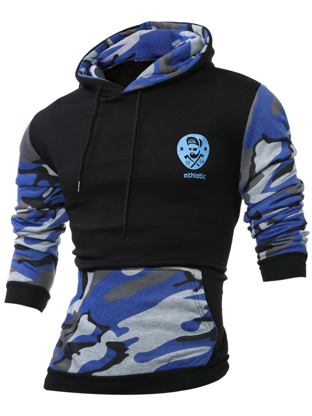 Kangaroo Pocket Camouflage Splicing Long Sleeves Hoodie - SAPPHIRE BLUE XL